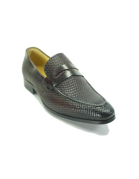 Men's Brown Woven Leather Stylish Dress Loafer- Men's Buckle Dress Shoes
