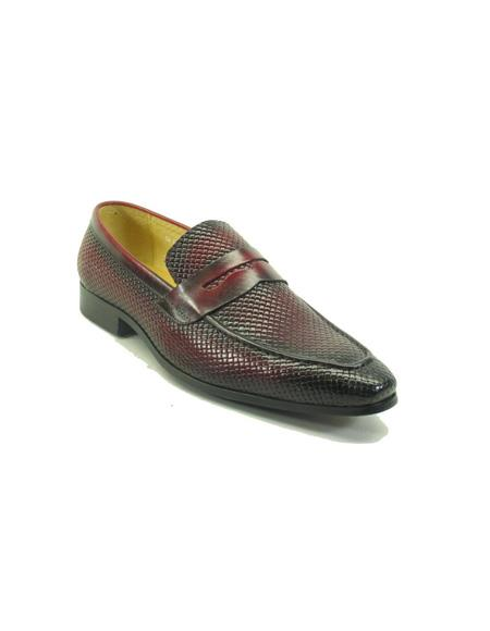 Mens Woven Leather Stylish Dress Loafer by Carrucci - Burgundy