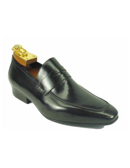 Men's Slip On Leather Stylish Dress Loafer by Carrucci - Black