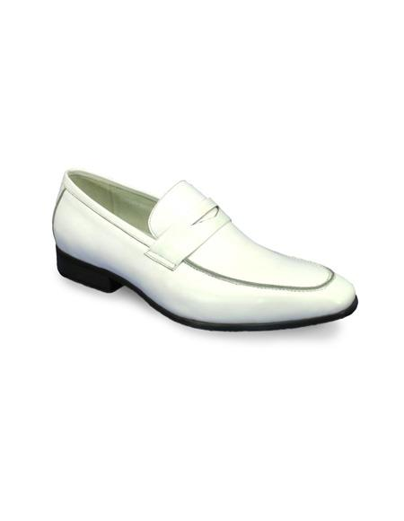 Mens Slip On Leather Stylish Dress Loafer by Carrucci - White