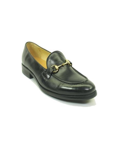 Mens Slip On Leather Stylish Dress Loafer by Carrucci - Black