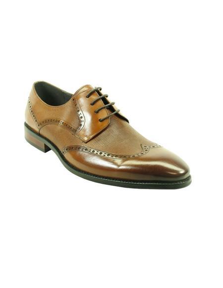 Men's Fashion Shoes by Carrucci - Lace-Up Cognac