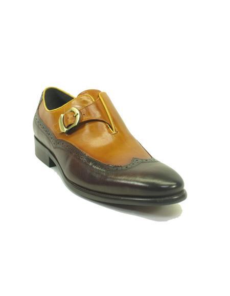 Mens Brown/Tan Monk Strap wingtip dress shoes- Mens Buckle Dress Shoes