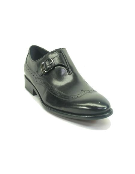 Mens Monk Strap Leather Wingtip Loafers by Carrucci - Black