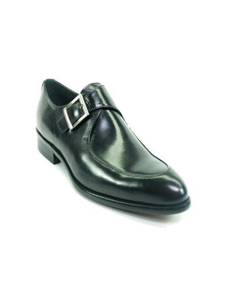 Men's Monk Strap Leather Moc Toe Stylish Dress Loafer by Carrucci - Black- Men's Buckle Dress Shoes