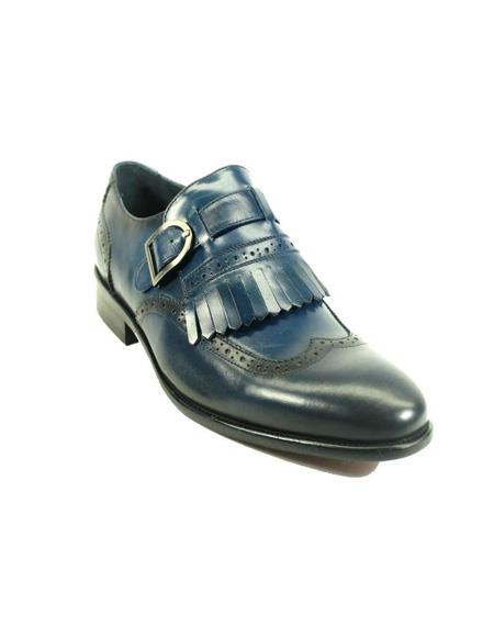 Mens Monk Strap Leather Loafers by Carrucci - Blue