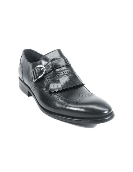 Mens Monk Strap Leather Stylish Dress Loafer by Carrucci - Black