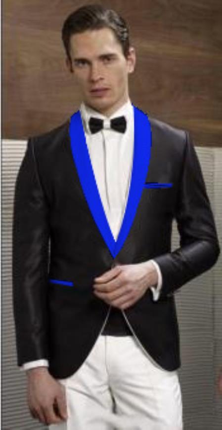 Mens Black Suit Single Breasted Blue Shawl Lapel