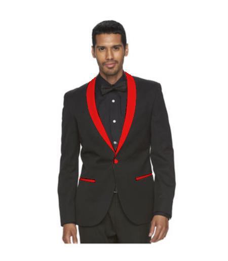 Men's Red Shawl Lapel One Button Black Suit