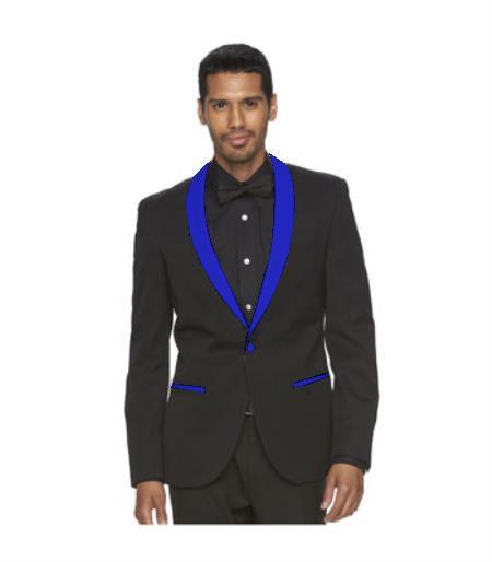 Men's Black Suit One Button Blue Shawl Lapel