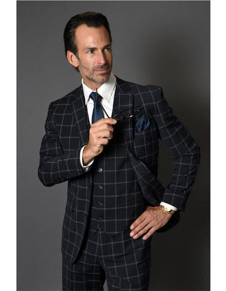 Men's Two Button Checked Pattern Dark Navy Suit Advanced Pre Order To Ship November / 15 / 2019