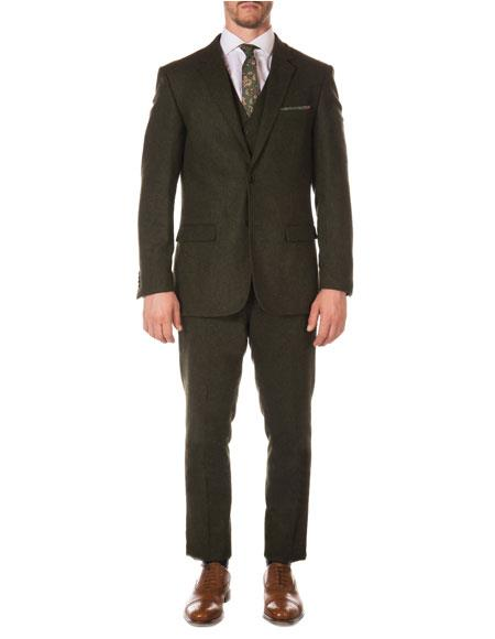 Mens Hunter Green ~ Dark Olive Green Slim Fit Tween ~ Herringbone Vested Texture Vintage Looking Suit