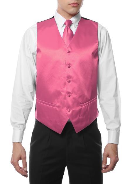Men's Pink V Neck Big and Tall Dress Tuxedo