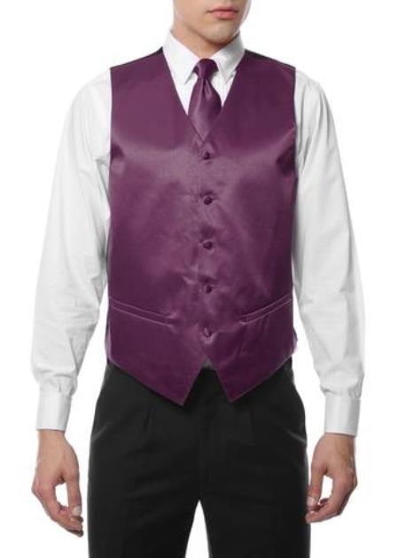 Mens 4PC Big and Tall Dress Tuxedo Wedding Vest ~ Waistcoat ~ Waist coat & Tie & Bow Tie and Hankie Wine