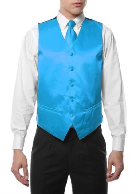 Mens 4PC Big and Tall Dress Tuxedo Wedding Vest ~ Waistcoat ~ Waist coat & Tie & Bow Tie and Hankie Turquoise