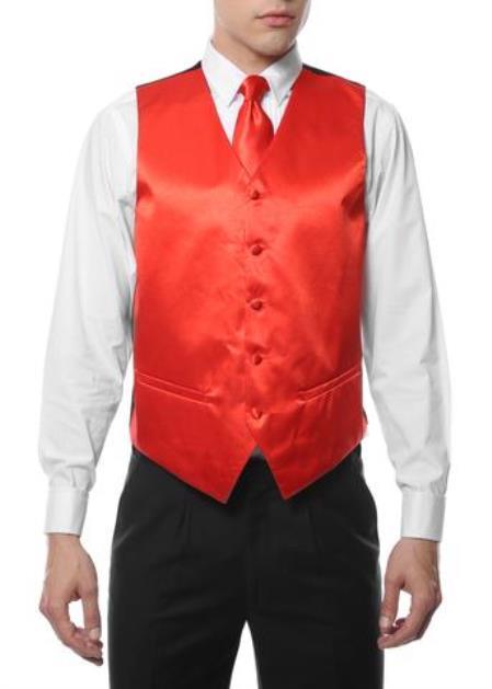 Men's 4PC Big and Tall Dress Tuxedo Wedding Vest ~ Waistcoat ~ Waist coat & Tie & Bow Tie and Hankie Red
