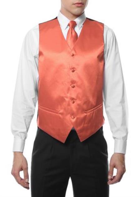 Men's Peach V Neck Big and Tall Waistcoat