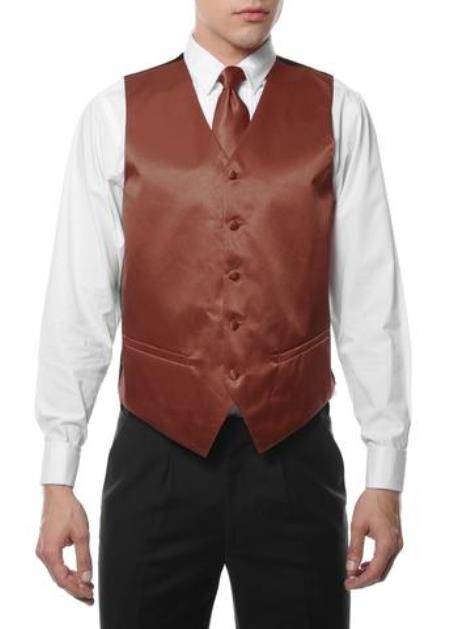 Men's Brown Five Button Wedding Vest ~ Waistcoat & Tie
