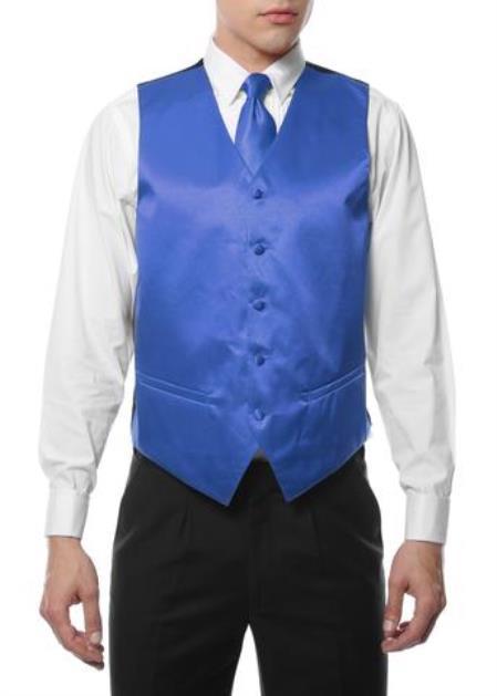 Mens 4PC Big and Tall Dress Tuxedo Wedding Vest ~ Waistcoat ~ Waist coat & Tie & Bow Tie and Hankie Royal Blue