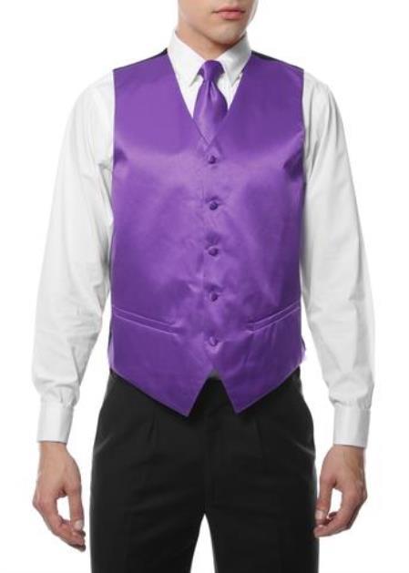 Mens 4PC Big and Tall Dress Tuxedo Wedding Vest ~ Waistcoat ~ Waist coat & Tie & Bow Tie and Hankie Purple