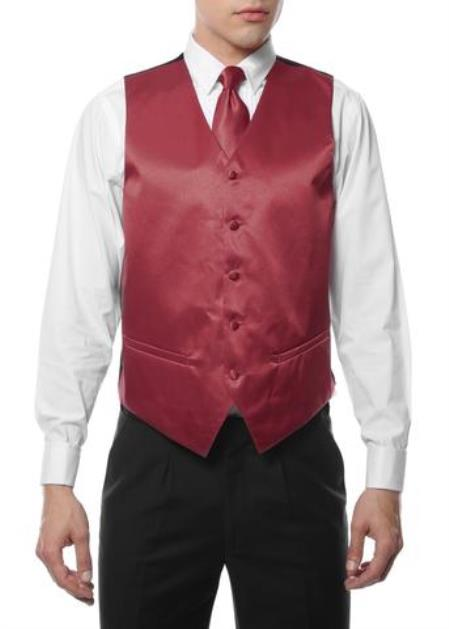 Mens 4PC Big and Tall Vest & Tie & Bow Tie and Hankie Burgundy