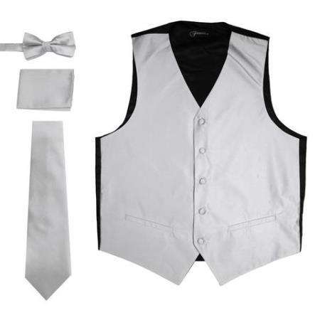 Men's 4PC Big and Tall Dress Tuxedo Wedding Vest ~ Waistcoat ~ Waist coat & Tie & Bow Tie and Hankie Gray