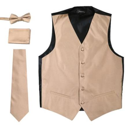 Mens 4PC Big and Tall Vest & Tie & Bow Tie and Hankie Beige