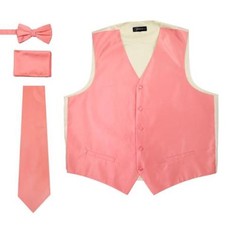 Mens 4PC Big and Tall Dress Tuxedo Wedding Vest ~ Waistcoat ~ Waist coat & Tie & Bow Tie and Hankie Soild Coral