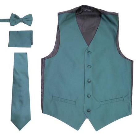 Men's Dark Teal Besom Pockets  Big and Tall Waist coat & Tie