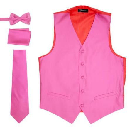 Mens 4PC Big and Tall Dress Tuxedo Wedding Vest ~ Waistcoat ~ Waist coat & Tie & Bow Tie and Hankie Fuchsia Pink