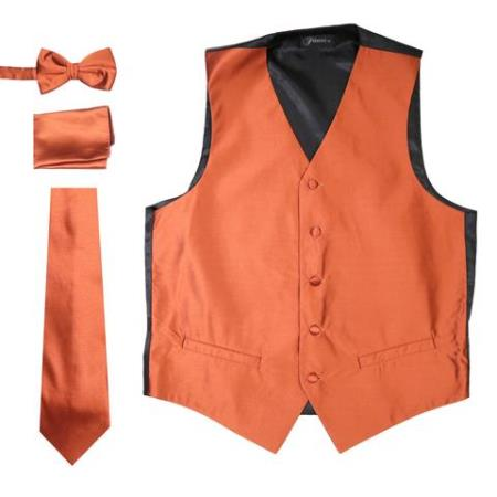 Men's Solid Rust Five Button 4PC Big and Tall Waist coat
