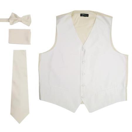 Men's Off White Five Button Besom Pockets Vest