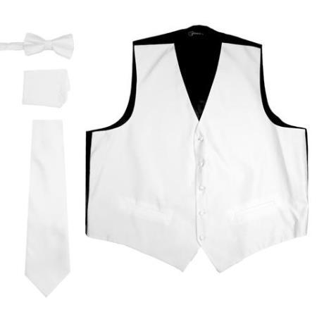 Men's Off White VNeck Five Button Besom Pockets Vest