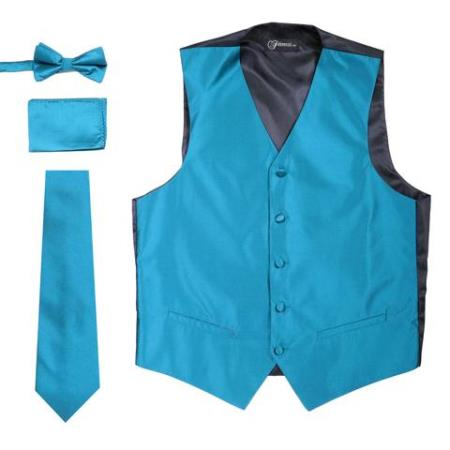 Mens 4PC Big and Tall Dress Tuxedo Wedding Vest ~ Waistcoat ~ Waist coat & Tie & Bow Tie and Hankie Solid Teal
