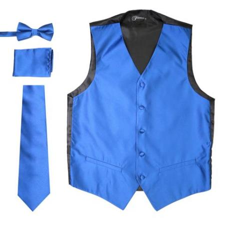 Men's Solid Royal Big and Tall Waist coat & Tie