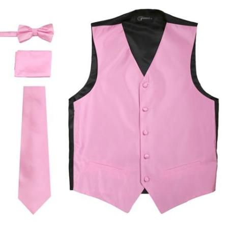 Men's Solid Rose 4PC Big and Tall Waist coat & Tie & Bow