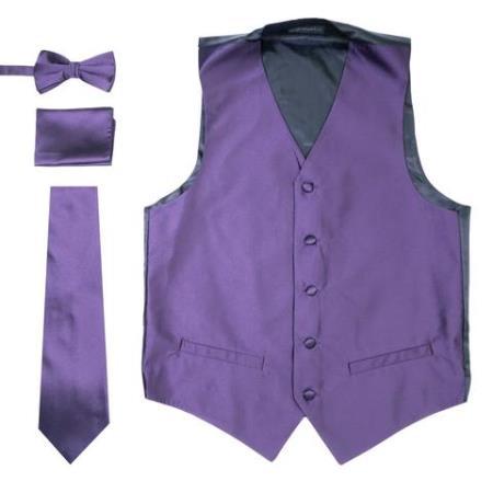 Mens 4PC Big and Tall Dress Tuxedo Wedding Vest ~ Waistcoat ~ Waist coat & Tie & Bow Tie and Hankie Solid Purple