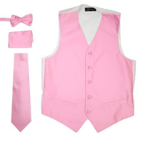 Mens 4PC Big and Tall Dress Tuxedo Wedding Vest ~ Waistcoat ~ Waist coat & Tie & Bow Tie and Hankie Solid Pink