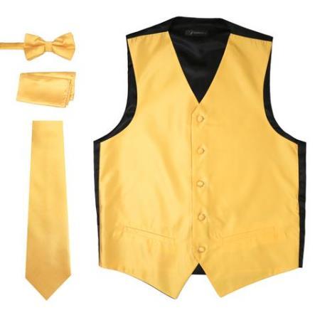 Men's 4PC Big and Tall Dress Tuxedo Wedding Vest ~ Waistcoat ~ Waist coat & Tie & Bow Tie and Hankie Solid Gold