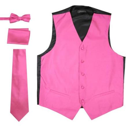 Men's Solid Fuchsia Big and Tall Waist coat & Tie & Bow Tie and Hankie