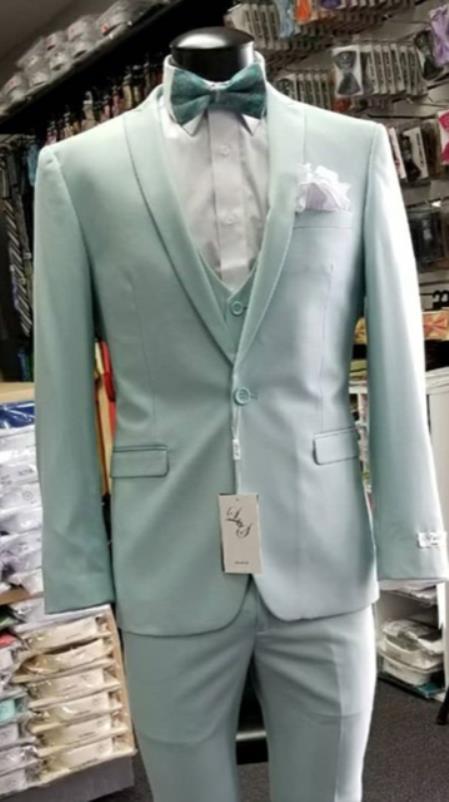 Men's  Shawl Lapel Light Blue Suit