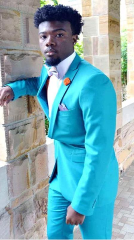Mens Peak Lapel Blue Suit