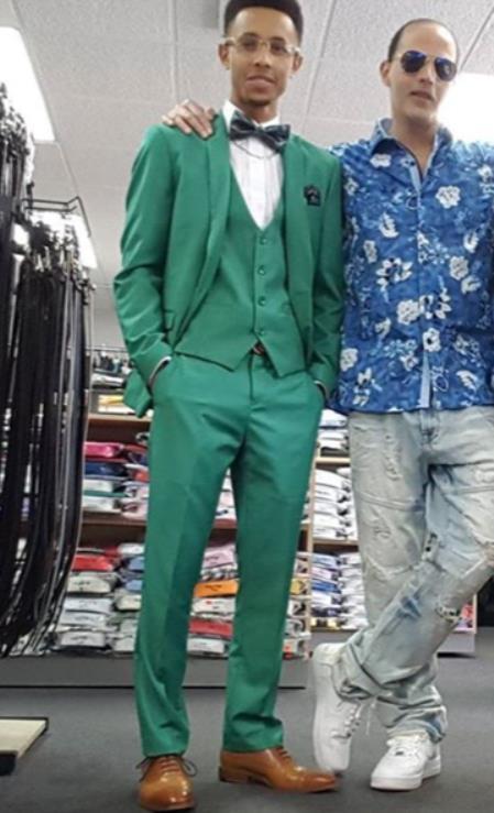 Men's Peak Lapel Green Suit