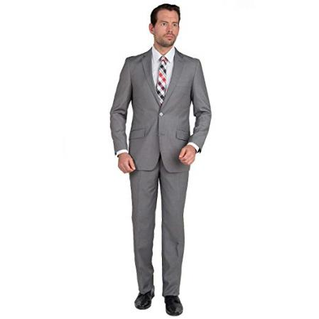Mens Modern Fit Single Breasted Two Button Gray Suit