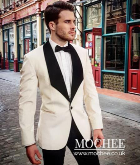 Mens  Shawl Lapel White Suit