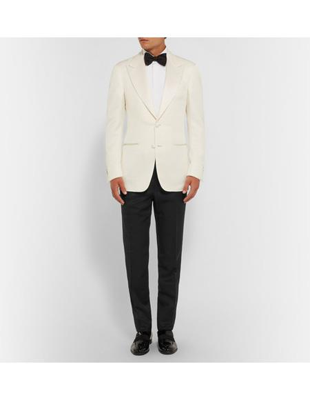 Men's James Bond Outfit Dinner Two Piece Ivory Tuxedo