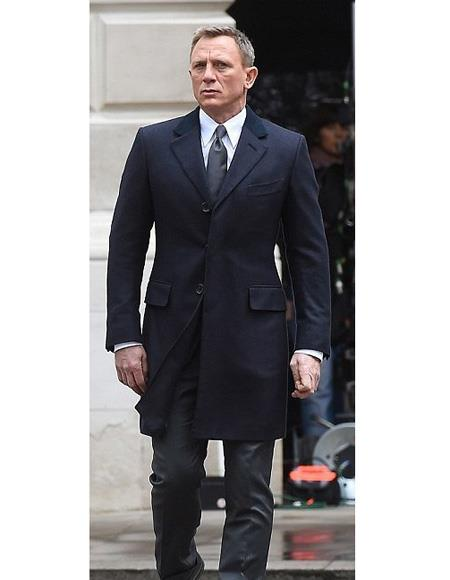 Mens Dark Navy Blue Peak Lapel Spectre James Bond Outfit