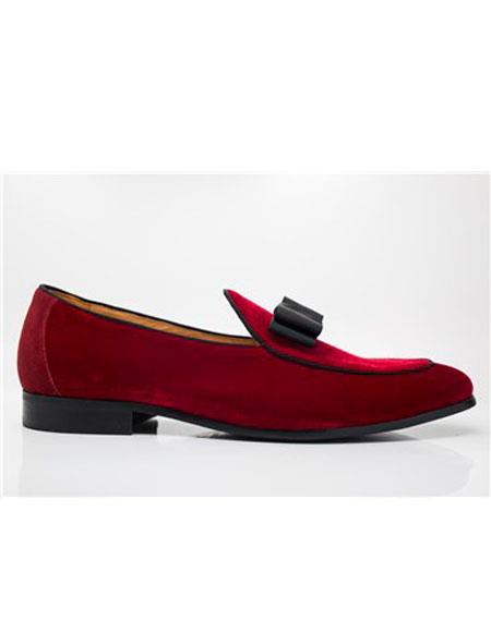 Tuxedo Shoes Formal Red Color Tuxedo Dress Slip on - Stylish Dress Loafer Red And Tint Of Black Carrucci Shoe For Men Perfect for Wedding - Red Mens Prom Shoe
