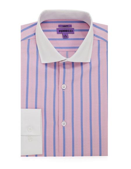Spread Collar Slim Fit Dress Shirt Cotton Pink