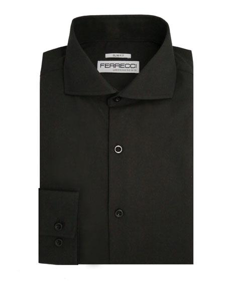 Spread Collar Slim Fit Shirt Cotton Black Mens Dress Shirt